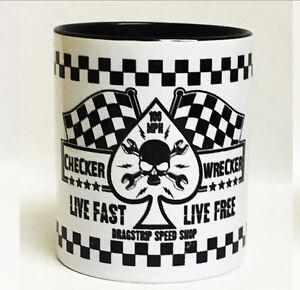 Dragstrip Kustom Mug Live Fast Live Free Cafe Racer Mug Racing Flags Biker Mug