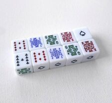 Poker Dice Game D6 Set of 10 15MM White Six Sided Cubes Values 9 Through to Ace