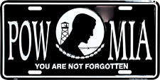 "POW MIA POWMIA Not Forgotten 6""x12"" Aluminum License Plate Tag MADE USA"