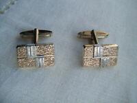 Vintage gold on silver modern design cufflinks C1970s