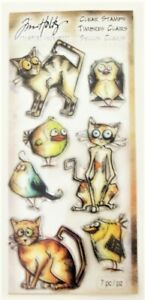 Tim Holtz Stampers Anonymous Crazy Cats/Birds Clear Stamp Set