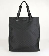Gucci Men's Black Guccissima Nylon Tall Tote Travel Bag 449177 8615