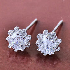 10K White Gold Filled GF CZ Sunflower Stud Earrings Earings 7mm Diam