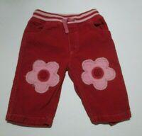 INFANT GIRLS MINI BODEN RED & PINK FLOWER APPLIQUE CORDUROY PANTS SIZE 6-12 MON