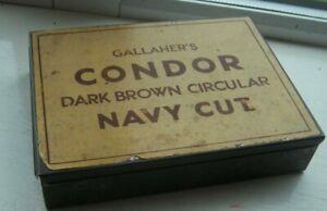 "VINTAGE ""GALLAHER'S CONDOR DARK BROWN NAVY CUT ""  TOBBACCO / CIGARETTE TIN RARER"