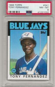 1986 TOPPS #241 TONY FERNANDEZ, PSA 8 NM-MT, TORONTO BLUE JAYS, L@@K !