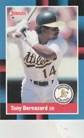 FREE SHIPPING-MINT-1988 Donruss Oakland Athletics Baseball #344 Tony Bernazard