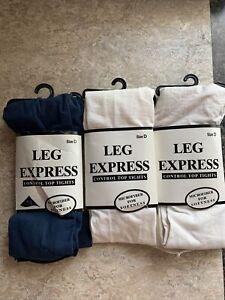 Sears Leg Express Control Top Tights Microfiber Size D 2-white 1- Blue