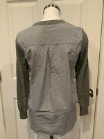 J. Crew Gray Wool Sweater W/ Blue & White Striped Back, Size XXS