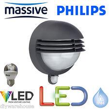 PHILIPS MASSIVE LED 5.9W BOSTON C/W PIR SENSOR LOUVRED HEAD DIE CAST BLACK LIGHT