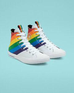 Converse Mens CTAS Hi Pride Canvas 167758C White/University Red/Multi NWB