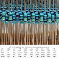 1000X 50 Valores ±1% 1Ω~10MΩ Resistencias Resistor Película Metálica Surtido Kit