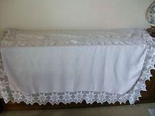 """Vintage White Linen Square Table Cloth, 7"""" Crochet Lace Border, 70"""" x 68"""""""