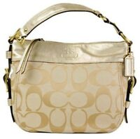 Coach ZOE gold metallic leather jacquard canvas signature shoulder bag holiday