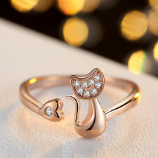 Women's18K Rose Gold Plated Base AAA Cubic Zircon Cat Opening Statement Ring