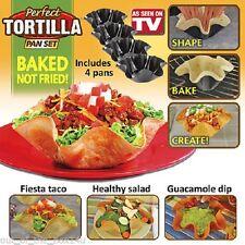 Perfect Tortilla Tortilla Pan Set 4 Pc. Non Stick Shell Makers Washable NIB