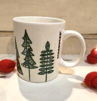 Starbucks Holiday Christmas Tree Coffee Tea Cup Mug 2015 12 Oz White Green