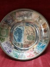 Stamp collector-Brass Bowl Decorated with World Stamps