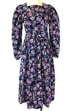 Laura Ashley US 14 UK 16 Vtg Floral Rose Print Corduroy Belted Dress Pockets