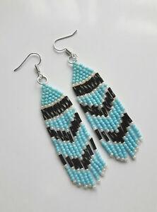TASSEL drop EARRING glass BEADED style Native Indian hooks blue white black