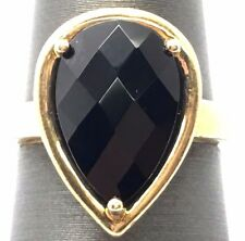 Sterling Silver Gold Tone Pear Faceted Black Onyx Crossover Cocktail Band Ring