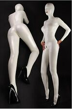 Latex Rubber White Catsuit Suit Hood Mask Zentai Bodysuit Leotard Body