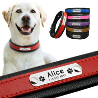 Personalised Dog Collar Leather Soft with Nameplate Adjustable Free Engraving