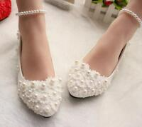 Womens Round Toe White Lace Ankle Strap Casual Flat Wedding Bridemaids Boat Shoe