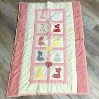 Vintage Handmade Sun Bonnet Girl Crib Quilt Pink White Applique Blanket 34 x 47