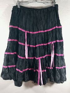 Women's Vintage Morbid Threads Hot Topic Black Pink Velvet Striped Skirt Size S