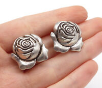 925 Sterling Silver - Vintage Rose Flower Motif Non Pierce Earrings - E8266