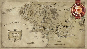 MIDDLE EARTH LORD OF THE RINGS LOTR MAP HOBBIT HOME PRINT ART PREMIUM POSTER