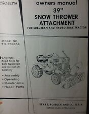 "Sears 39"" Snow Thrower Implement Garden Tractor Owner & Parts Manual 917.253350"