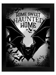 Home Sweet Haunted Home Mirrored Tin Sign Bats Black 35x45cm