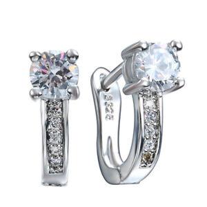Women Silver Plated  Rhinestone Hoop Drop Earrings for Wedding Jewelry Xmas Gift