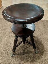 New ListingVintage Piano Stool / Vanity Chair w Glass Ball & Claw Feet /