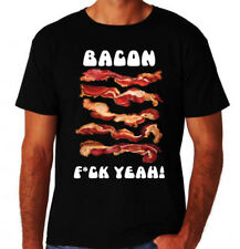 Bacon F**K Yeah Funny Rude Foodie American BBQ New Black Mens Novelty T-Shirt