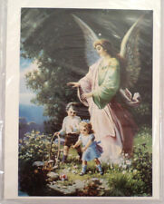 "Victorian Lithograph Print Picture Angel With Children In The Garden 5"" X 7"""