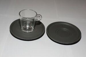 GENUINE NESPRESSO 2 X BLACK / GREY SAUCERS 1 X EXPRESSO CUP