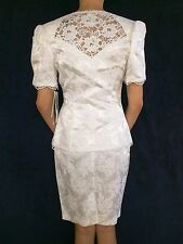 Vintage Set Pencil Skirt Jacket White McClintock Hand Beaded Lace Wedding Petite