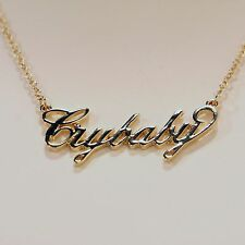 "Authentic Melanie Martinez Gold Tone Script ""Cry Baby"" Name Plate Necklace"