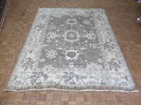 9'2 X 11'9 Hand Knotted Gray Oushak Ushak Oriental Rug Wool G6161