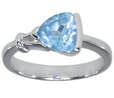 Swiss Blue Topaz Gemstone 1.60 carat Trillion Sterling Silver Ring size Q