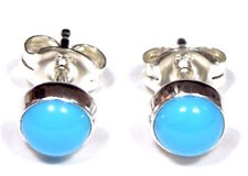 5mm Round Blue Sleeping Beauty Turquoise 925 Sterling Silver Stud Earrings
