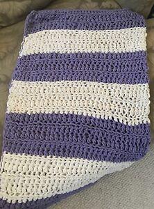 Extra Soft Cozy crochet  blanket-White & Purple blanket, 40x48. Smoke Free Home.