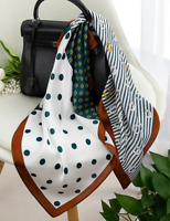 "100% Mulberry Silk 25"" Scarf Women neckerchief Shawl Wrap dot green QS153-3"