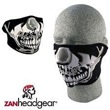 Zan Headgear Neoprene Half Face Mask Chrome Skull Cold Gear Winter Riding Snow