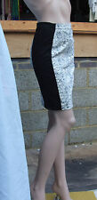 H&M UK 6 Wonderful Black & Grey Floral Swirl Centre Panel Stretch Pencil Skirt