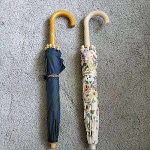 2 Longaberger Miniature Umbrellas For The J W Miniature Umbrella Basket