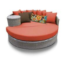Monterey Circular Sun Bed - Outdoor Wicker Patio Furniture in Tangerine